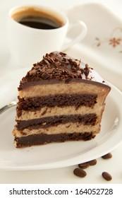 Chocolate cake (brownie) with chestnut cream.