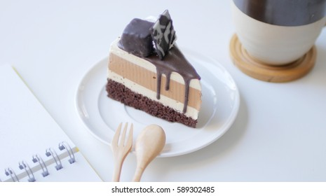 Chocolate cake in cake cafe