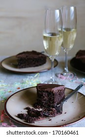 Chocolate cake and champagne