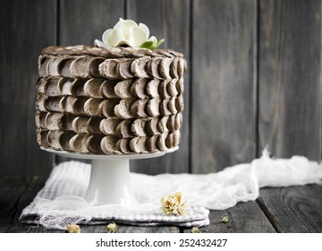 Chocolate cake with cherry and chocolate mousse