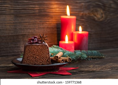 chocolate cake for christmas with candles