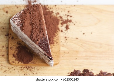 Chocolate cake and cocoa powder