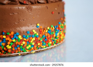chocolate cake with confetti