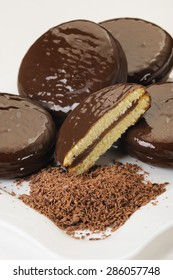 Chocolate cake cookies on a white plate