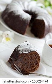 Chocolate cake with cranberries, new year, Christmas.