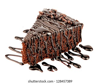 Chocolate cake with chocolate creame isolated on white