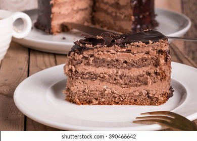 Chocolate Cake with Creamy Chocolate Buttercream Frosting. Cake made with Coffee.