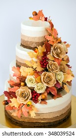 chocolate cake decorated in an autumn theme