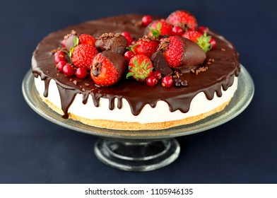 Chocolate cake decorated with fresh fruit