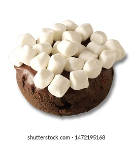 Chocolate Cake Donut with Chocolate Icing Topped with Mini-Marshmallows Isolated on a White Background