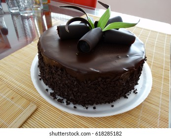 Chocolate Cake with Flower Decoration