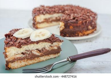 Chocolate cake with fresh banana