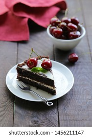 chocolate cake with fresh sweet cherry