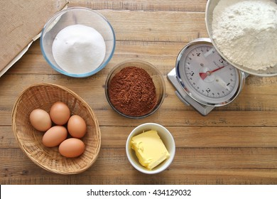 Chocolate cake ingredients ready to be mixed