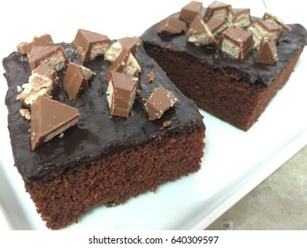 Chocolate cake and KitKat topping