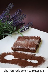 chocolate cake and lavander flowers