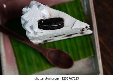 Chocolate Cake On the banana leaf