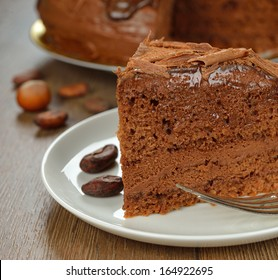 chocolate cake on brown background