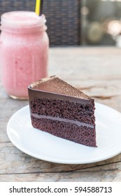 chocolate cake on plate in dessert cafe
