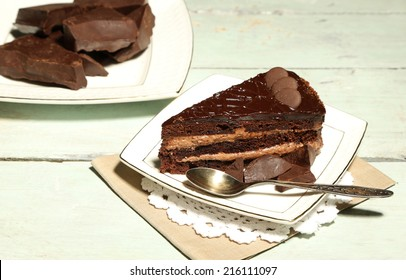 Chocolate cake on plate, on wooden background