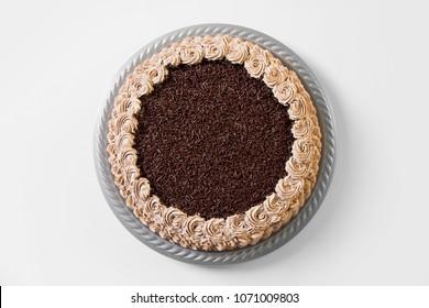 Chocolate cake on white
