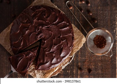 chocolate cake on a wooden background