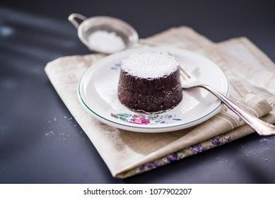 chocolate cake with powder sugar