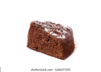 chocolate cake with powdered sugar, isolate