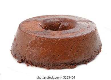 Chocolate cake or pudding over white background .