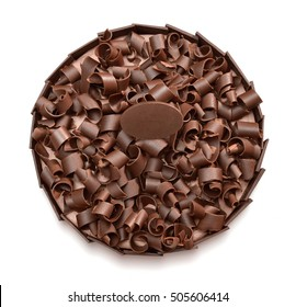 Chocolate cake with chocolate ship topping isolated on white background.