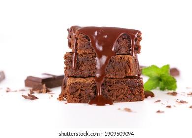 chocolate cake slice isolated on white background