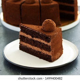 Chocolate cake. A slice of chocolate cake. Selective focus