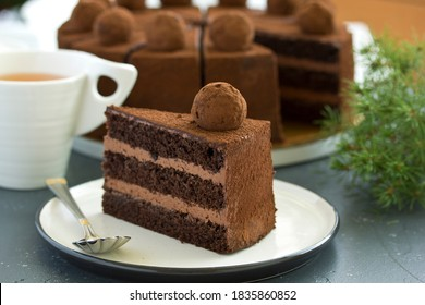 Gâteau au chocolat. Une tranche de gâteau au chocolat. Mise au point sélective