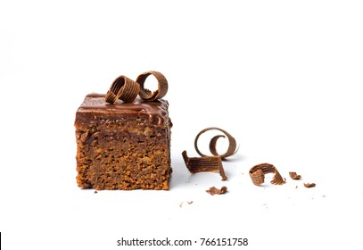 Chocolate cake slices isolated on white background
