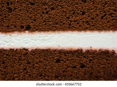 Chocolate cake with white center filling texture