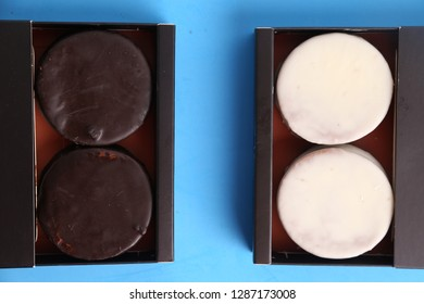 Chocolate cakes and dulce de leche, typical in Argentina. called Alfajores