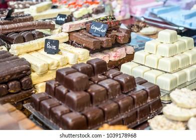 """Chocolate cakes at Chocolate Exhibition, """"Salon du Chocolat"""", Bruxelles, Belgium"""