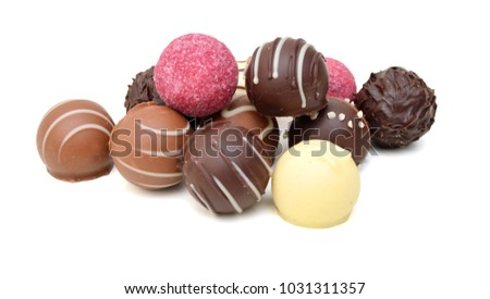 Chocolate Candies Collection Beautiful Belgian Truffles Stock Photo