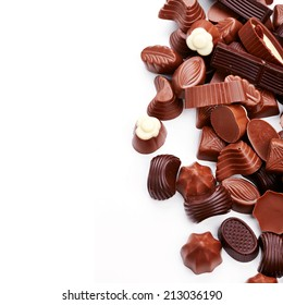 Chocolate candies isolated on white background