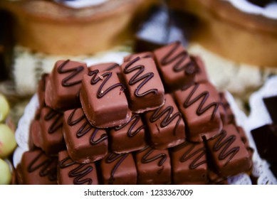 Chocolate candies on the table.