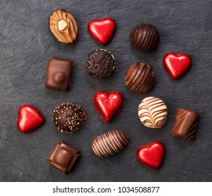 chocolate candies. top view