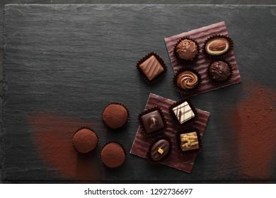 Chocolate candy assortment  in white, dark, and milk chocolate. Chocolate fruffles