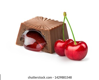chocolate candy with cherry filling