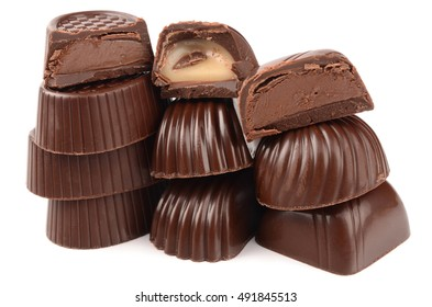 chocolate candy with filling isolated on a white background