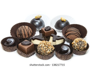 chocolate candy with filling on white background