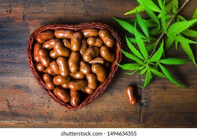 Chocolate candy with marijuana cannabis plant top view