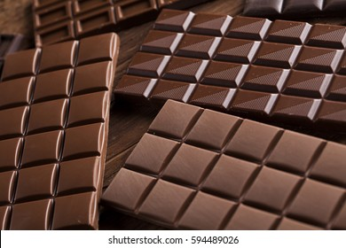 Chocolate , candy sweet, dessert food on wooden background