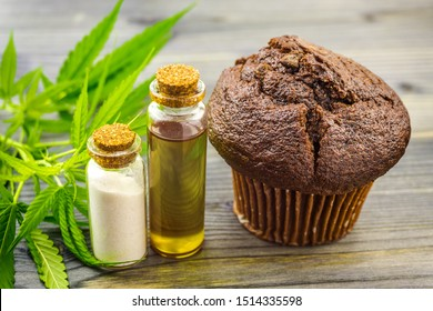 Chocolate Cannabis cupcake muffin with CBD Crystals isolate CBD oil and hemp leaves
