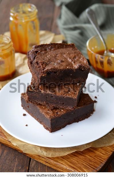 Chocolate Caramel Brownies, vertical