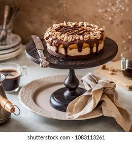 Chocolate, Caramel, Nougat and Peanut Layered Cake, square